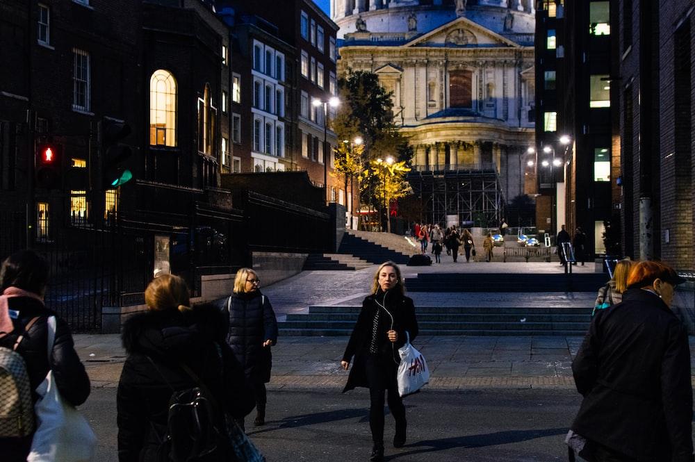 people walking on open area
