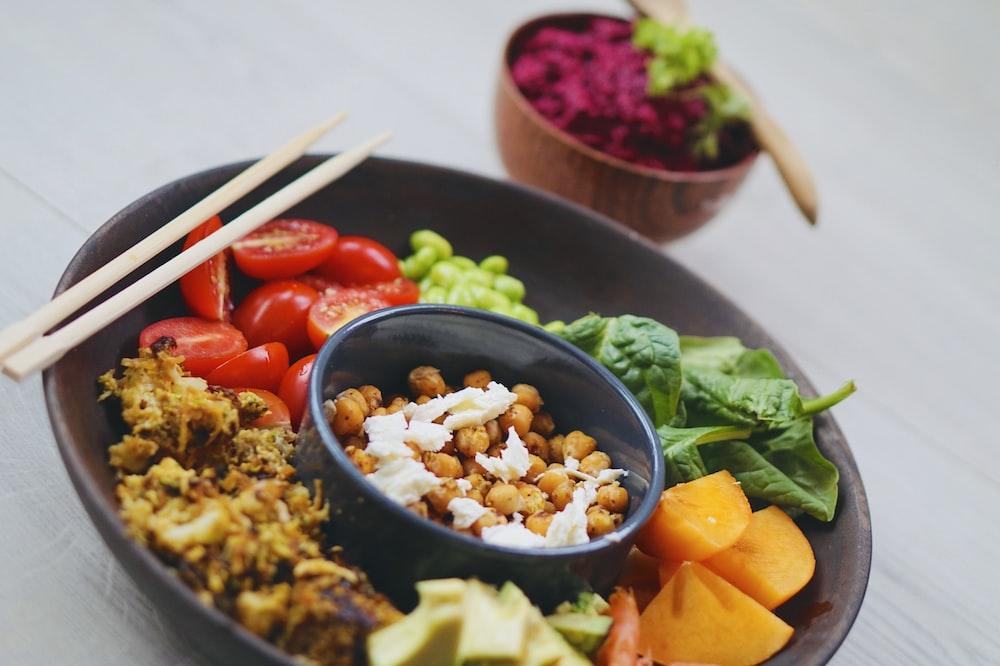 bowl of variety of food
