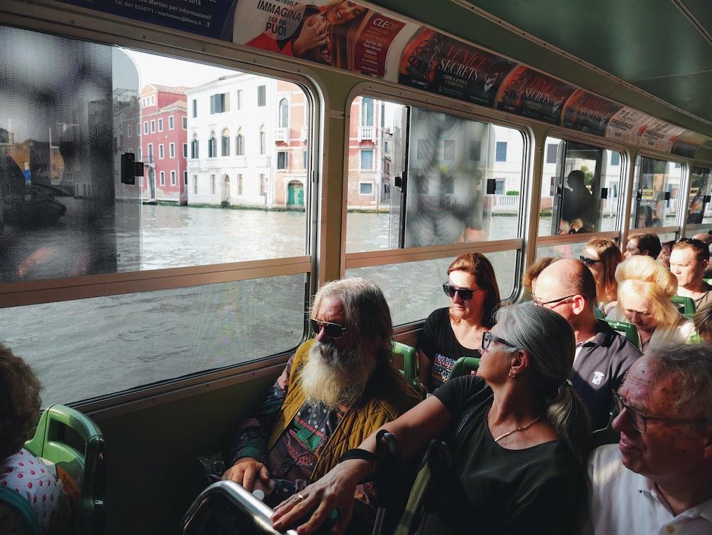 people riding bus