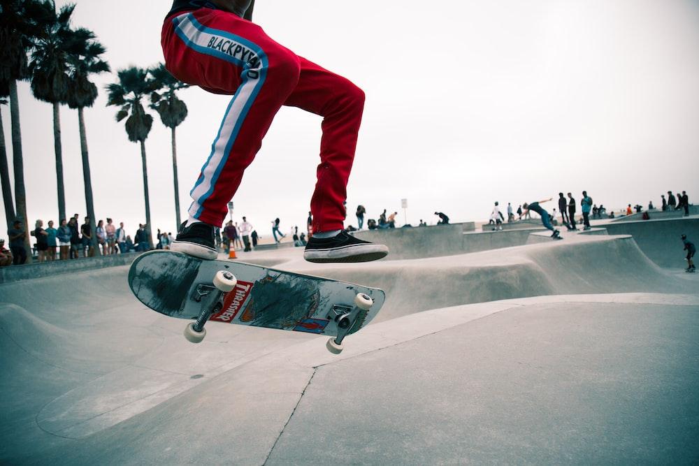 person doing skateboarding tricks