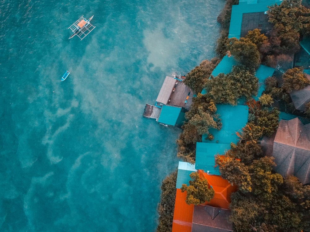 aerial photography of houses and sea