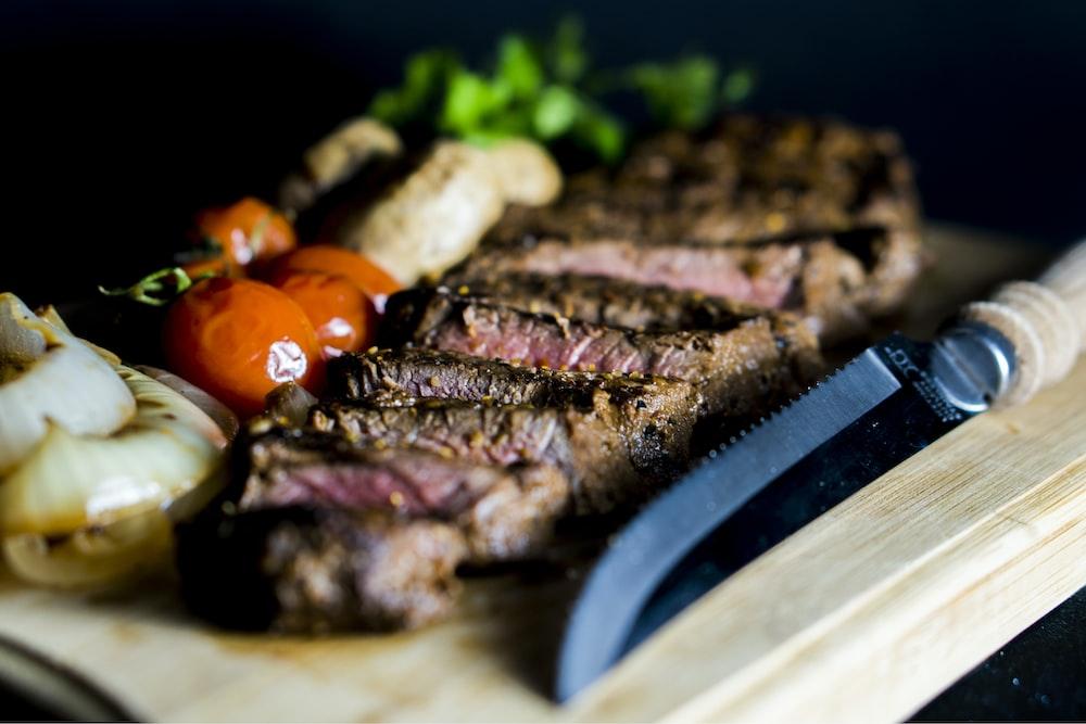 grilled steak near steak knife