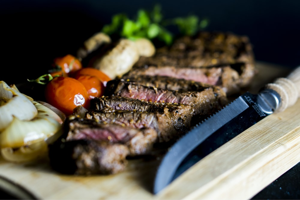 grilled steak near steak knife