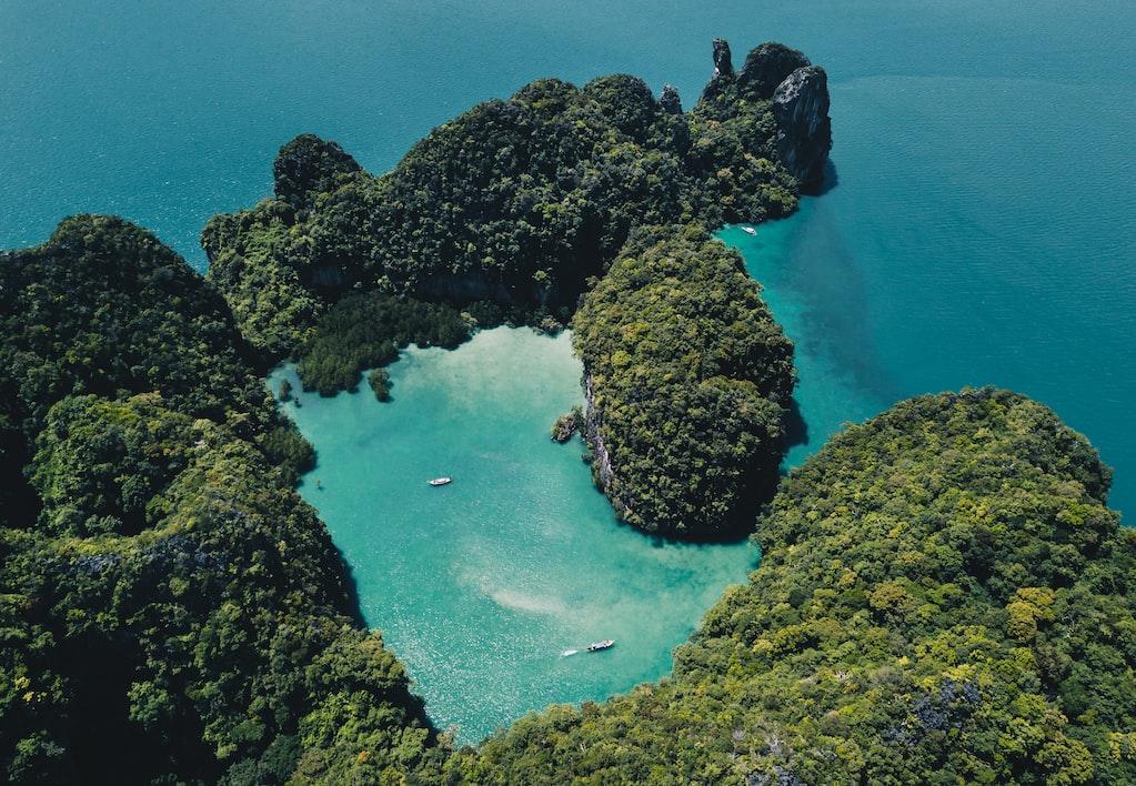 An Aerial shot of Koh Hong island