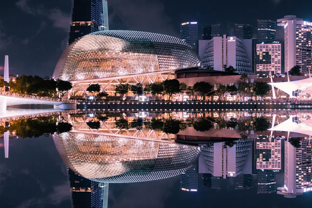 skyline photography of dome building at night time