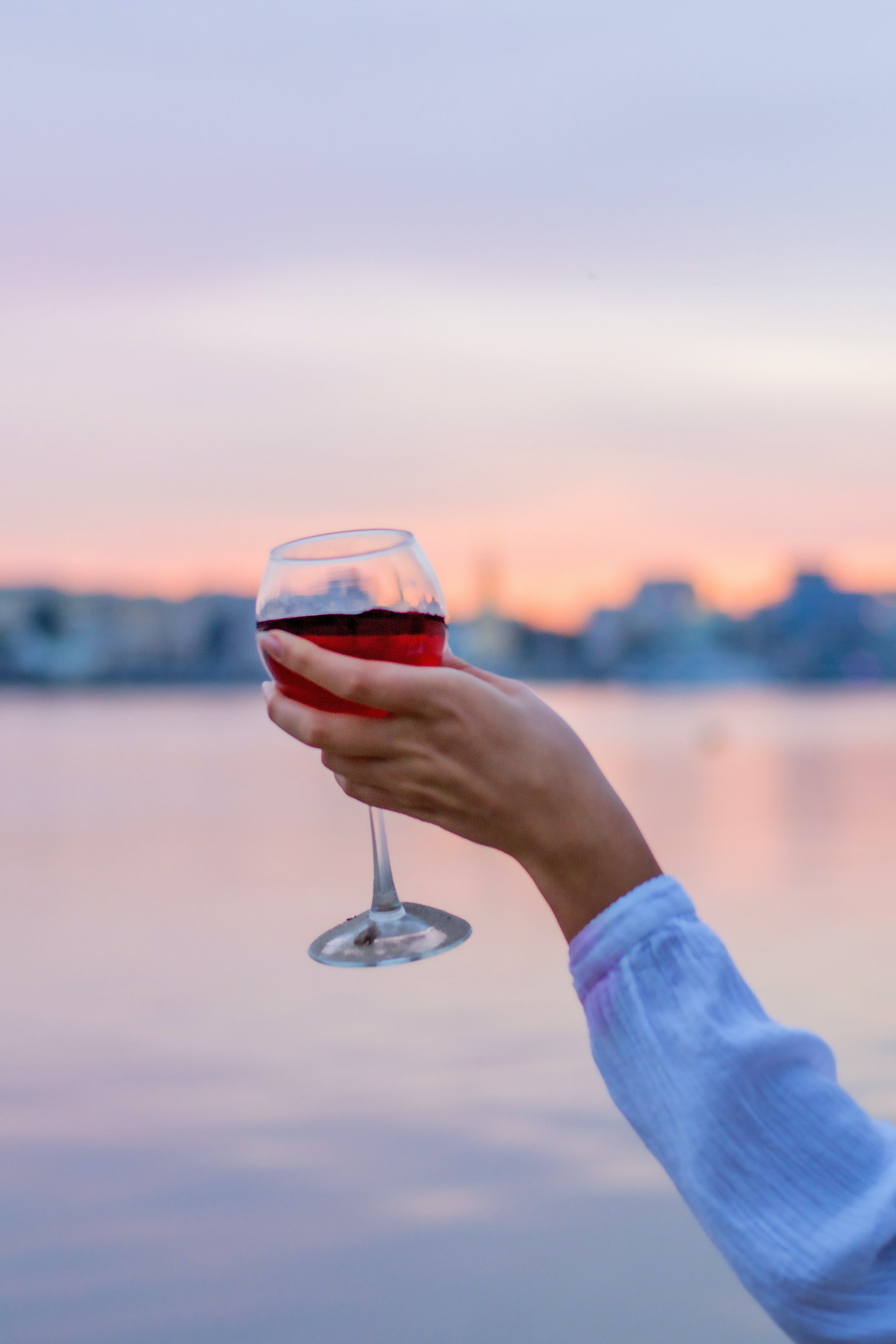 person holding glass wine filled with red wine