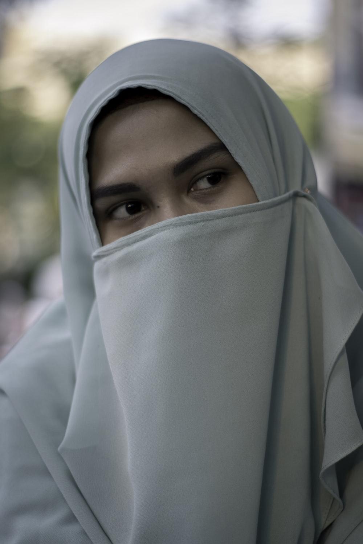 woman wearing blue hijab scarf
