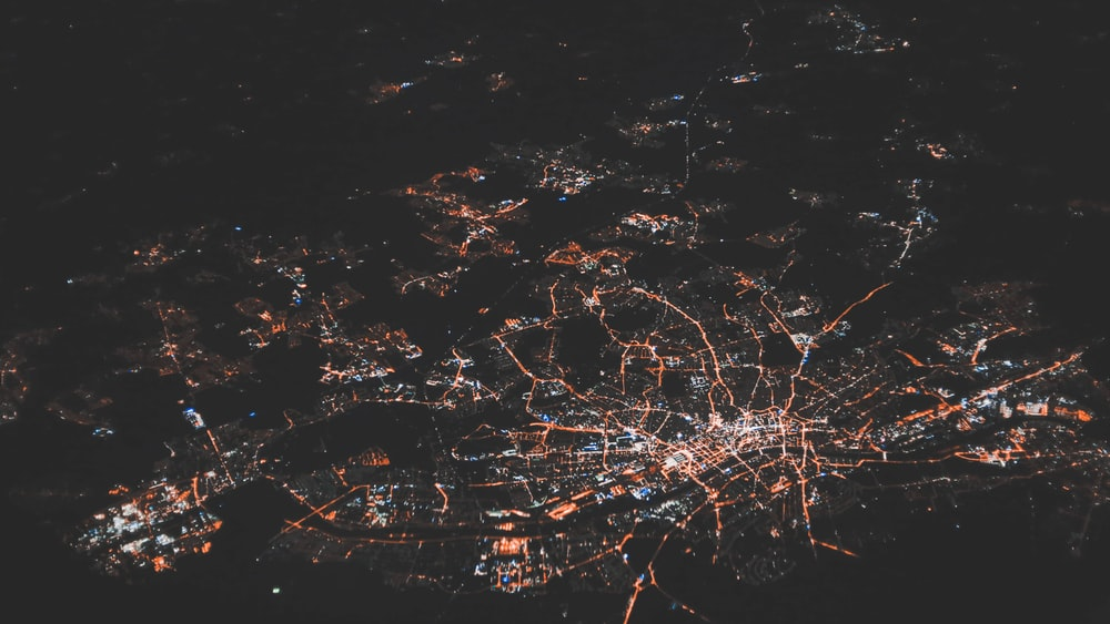 areal view of city lights