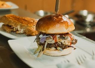 baked hamburger on plate