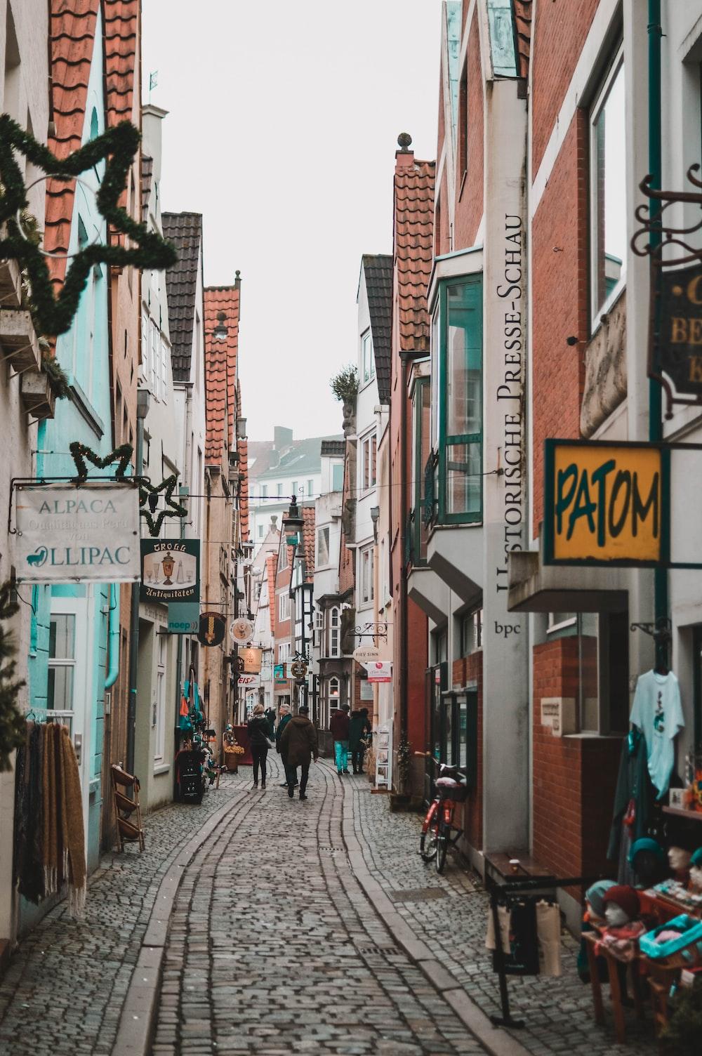 few people walking on pathway between buildings