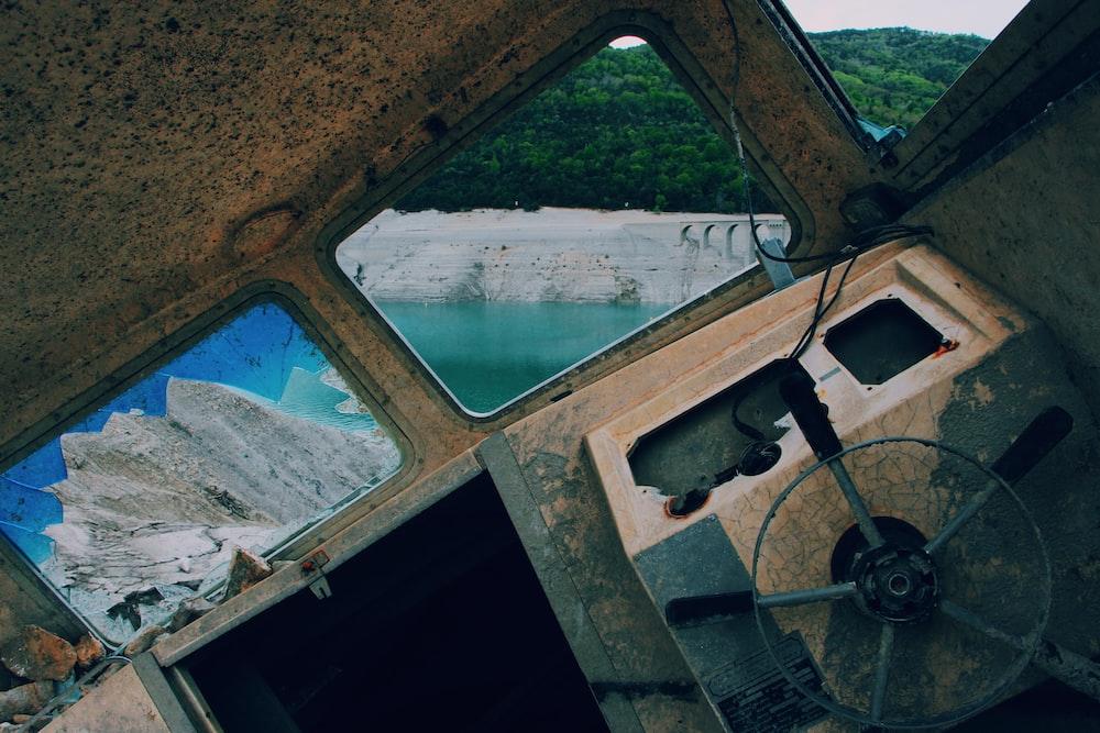 beige boat interior