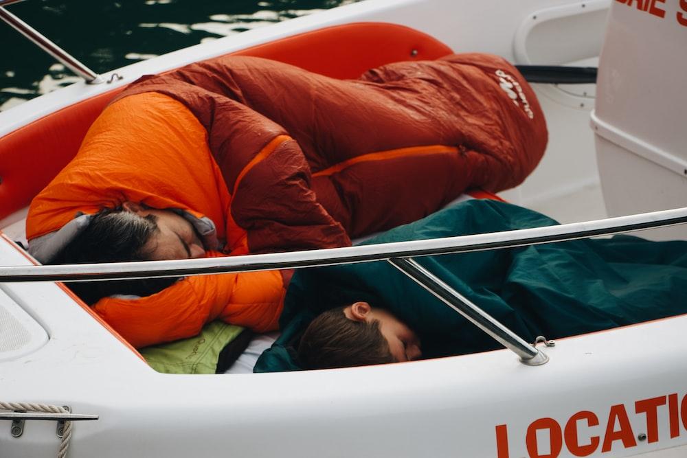 man sleeping on the boat