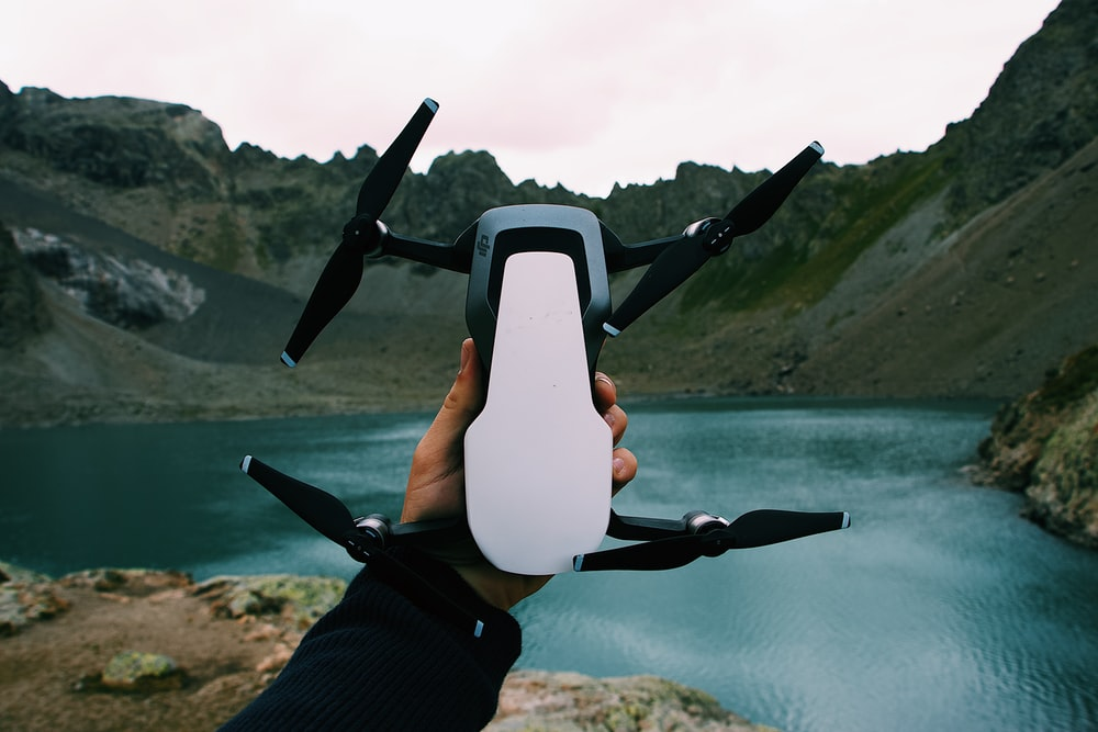 black and white drone