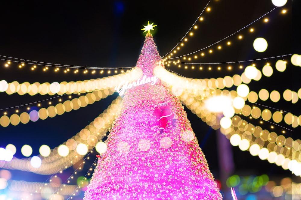 lighted pink Christmas tree