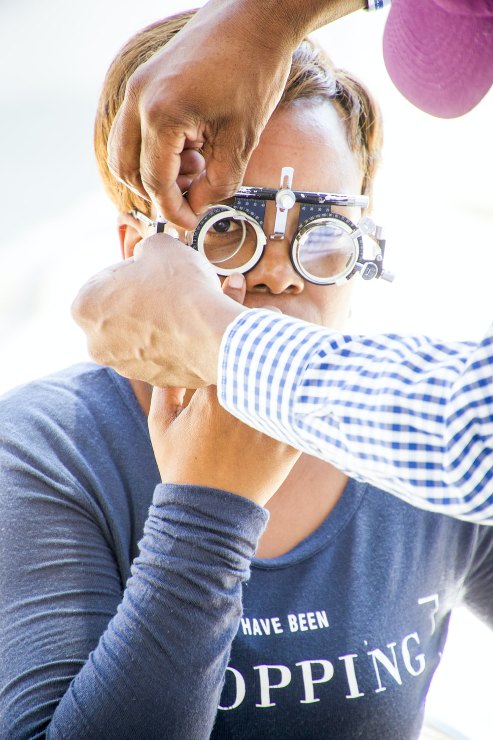 person wearing loupe glasses