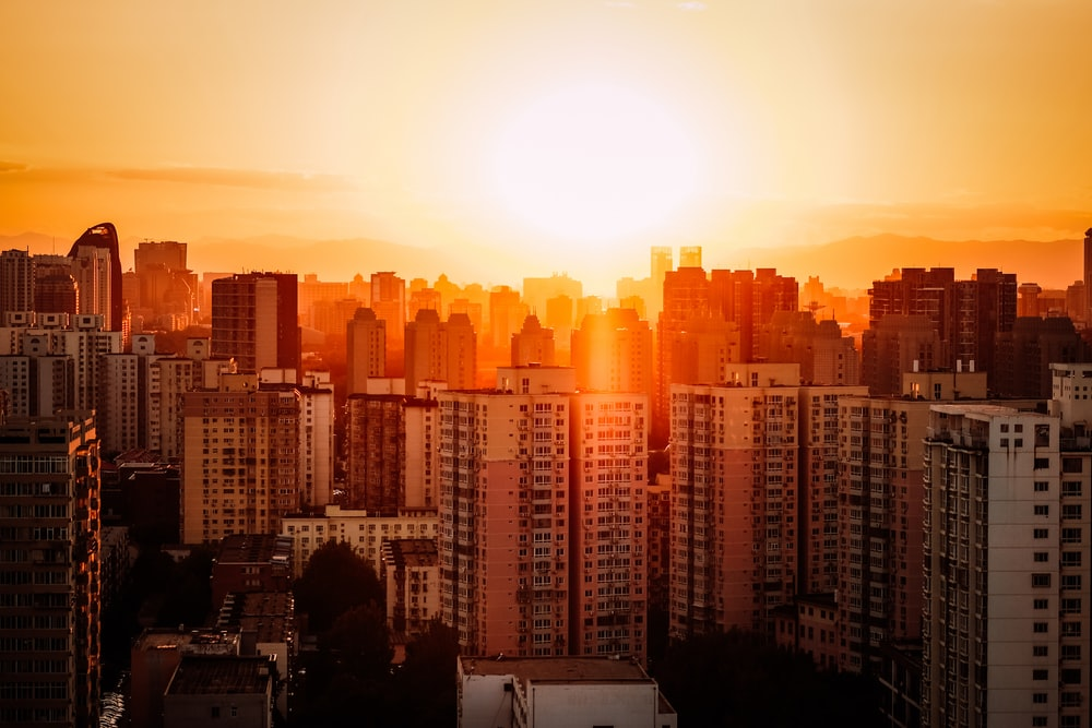 bird's-eye view photography of high rise buildings during golden hour