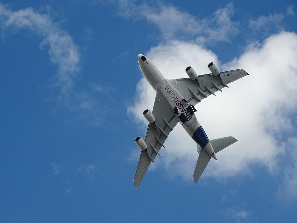 white airplane under blue sky