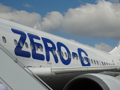white zero g airplane wing teams background