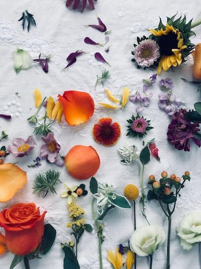 assorted-color flower decors