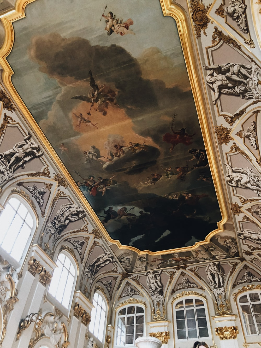 group of fighting people on islet painted ceiling