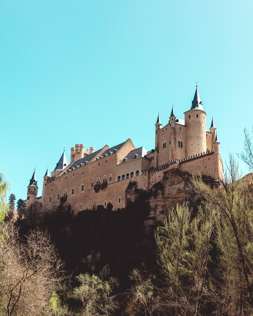 brown castle on hills