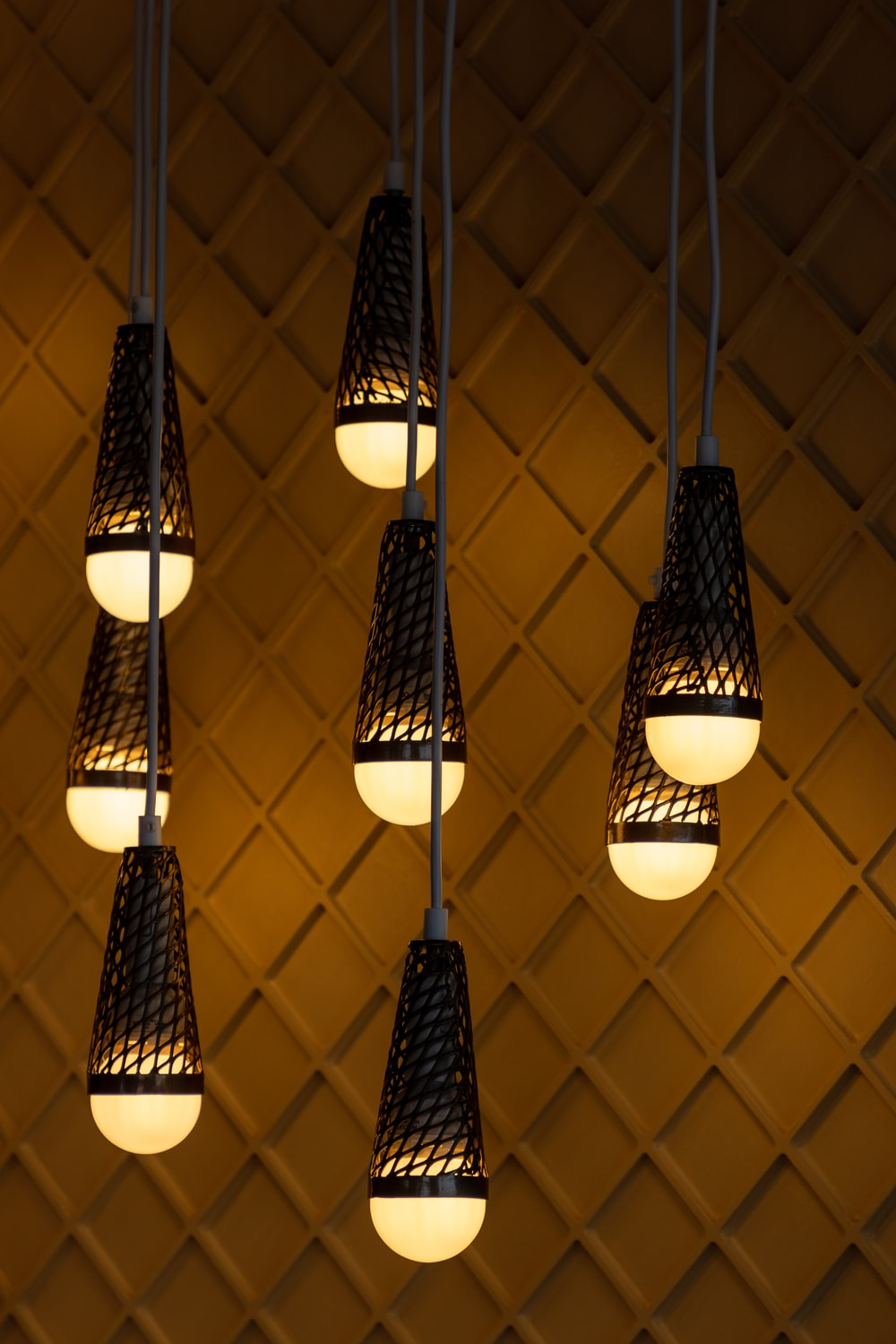 eight pendant lamps turned on
