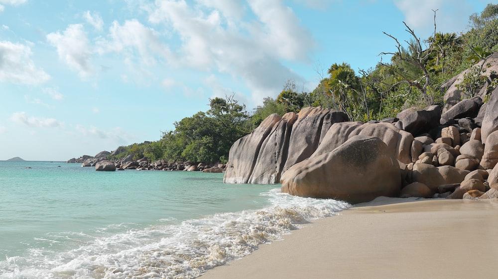 boulders on seashore in Seychelles