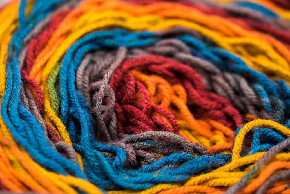 multicolored yarns