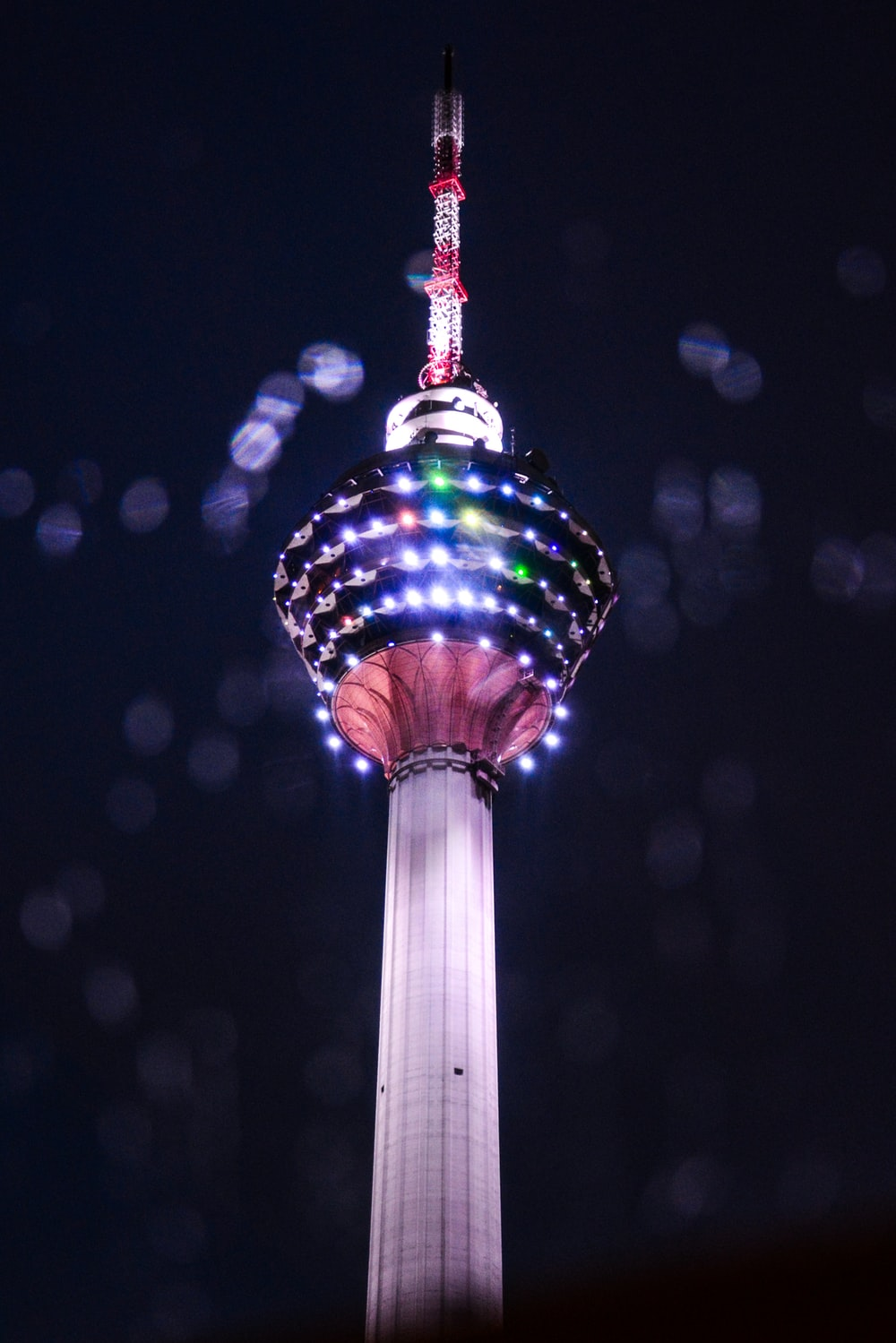 needle tower at night time
