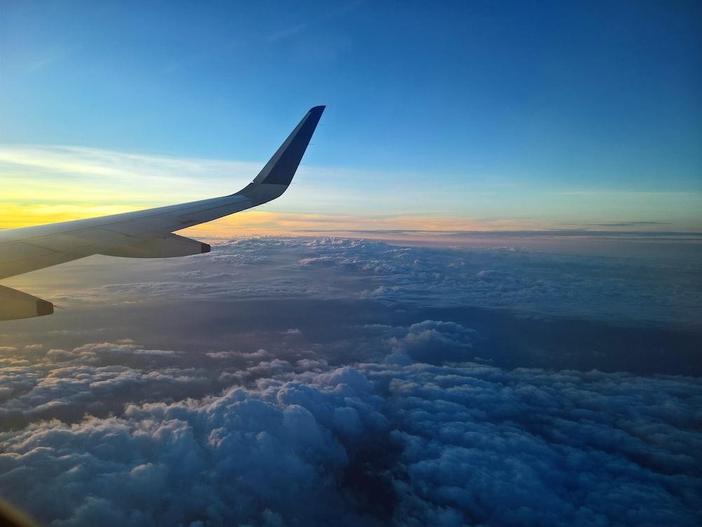 bird's-eye view photography of plane on sky