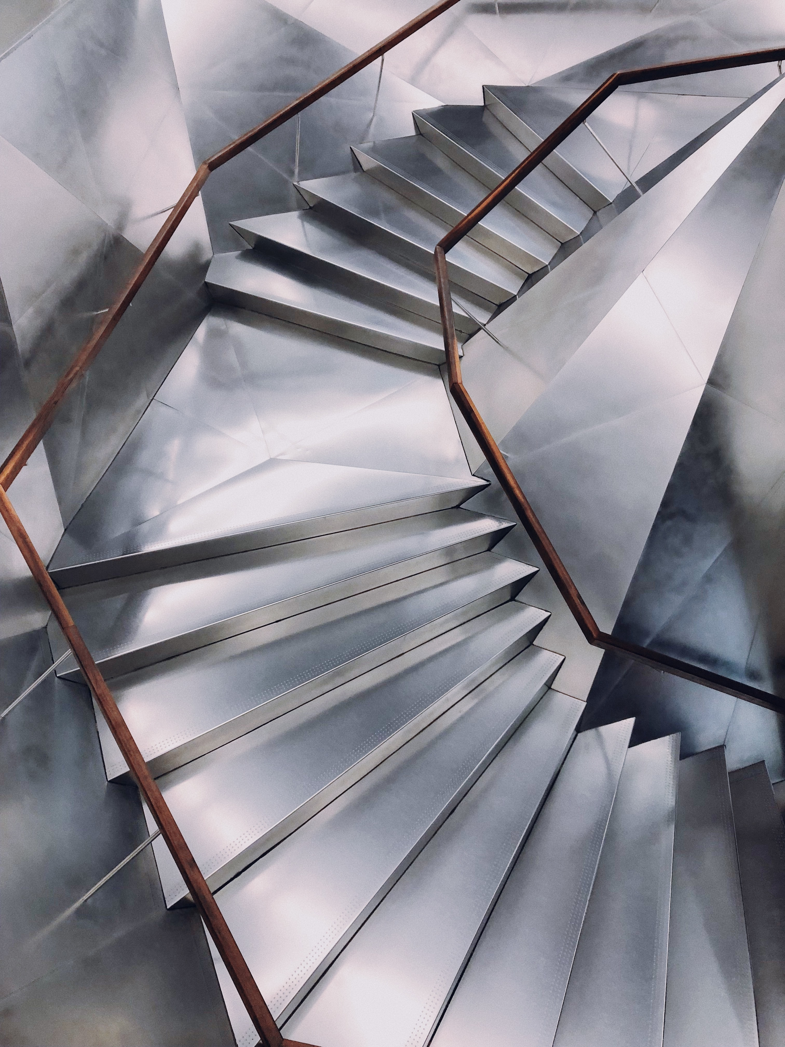 gray stairs in circle