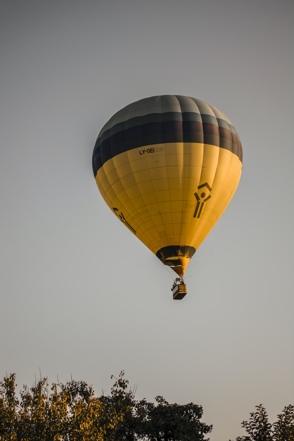 yellow and brown hot air balloon flying