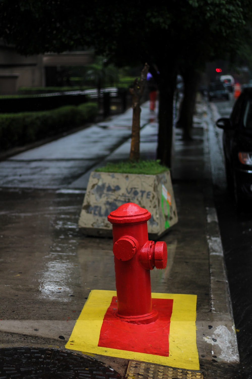 red fire hydrant beside road