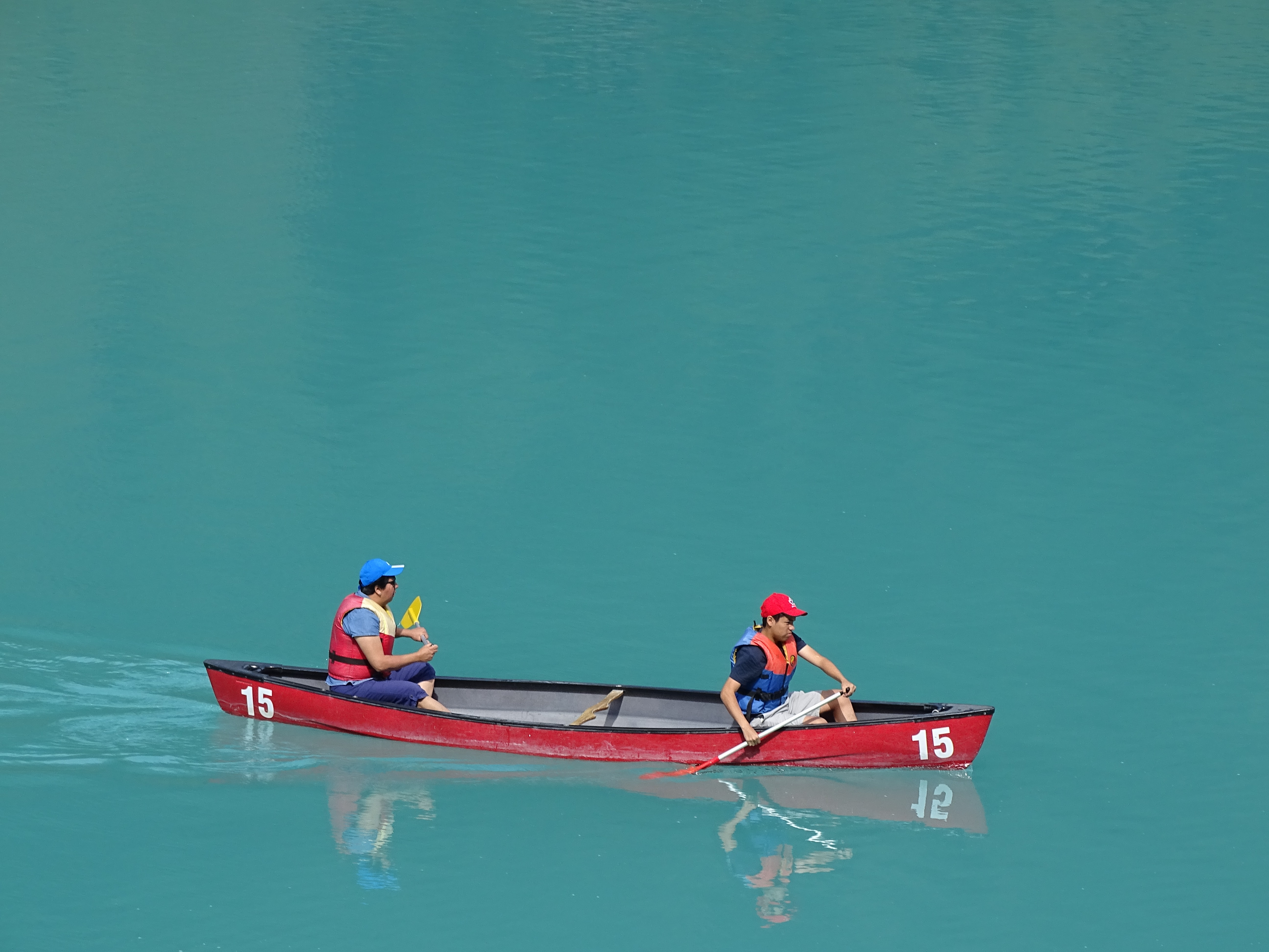 two people on boat