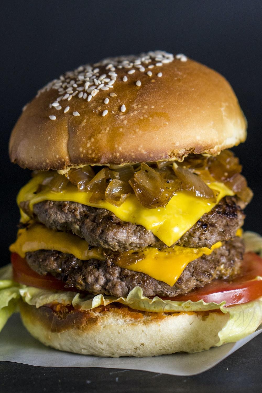 hamburger with cheese and patties