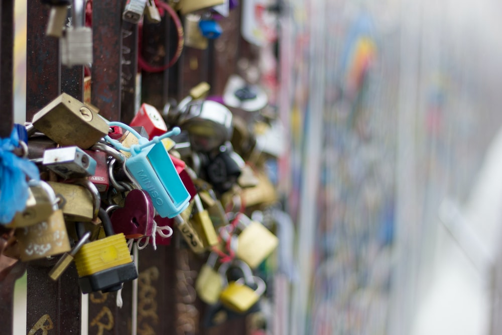 selective focus photography of padlocks