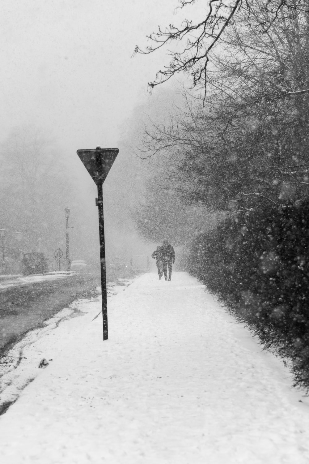 grayscale photography of two persons walking on pathway