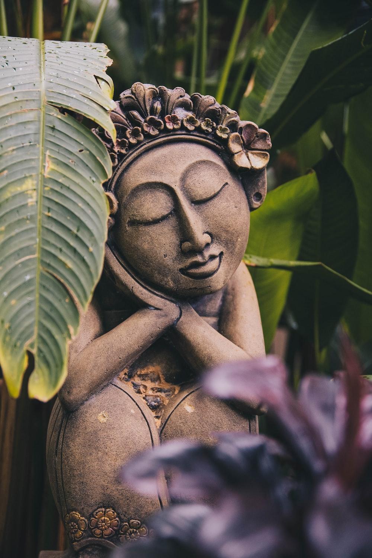 Buddha sleeping statue near green plant