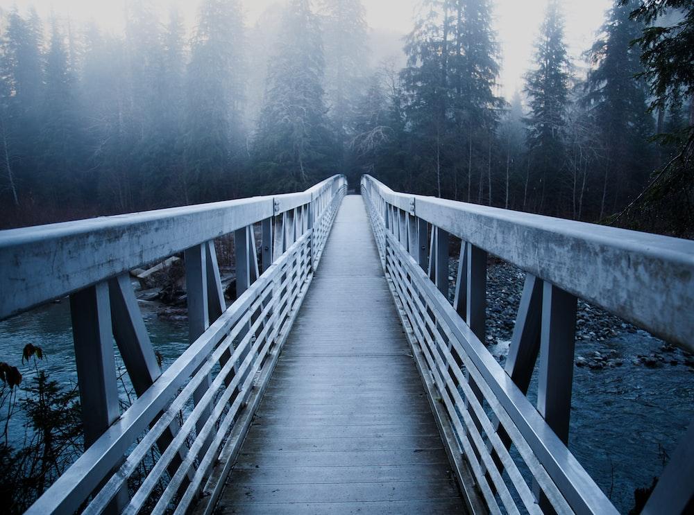 gray bridge above river during daytime photo