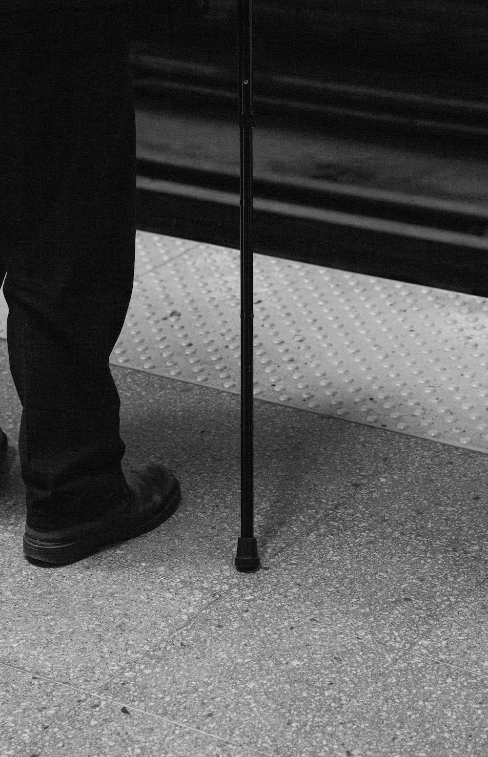 black metal cane