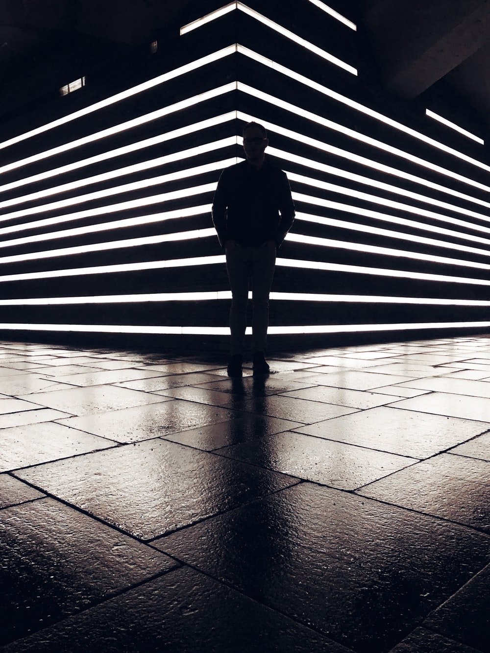silhouette photography of standing person