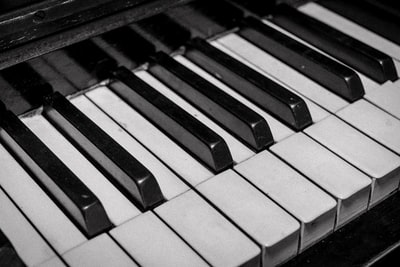 white and black piano instrument zoom background