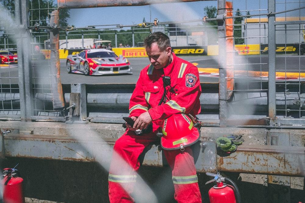 fireman holding phone