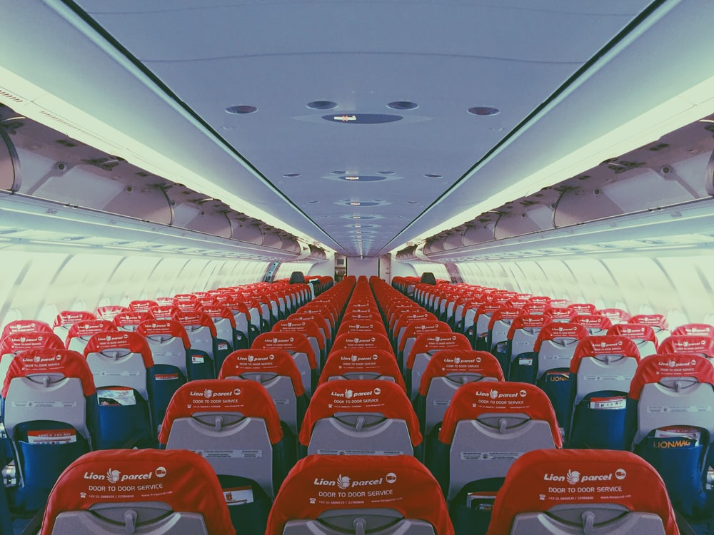 orange and grey passenger seats