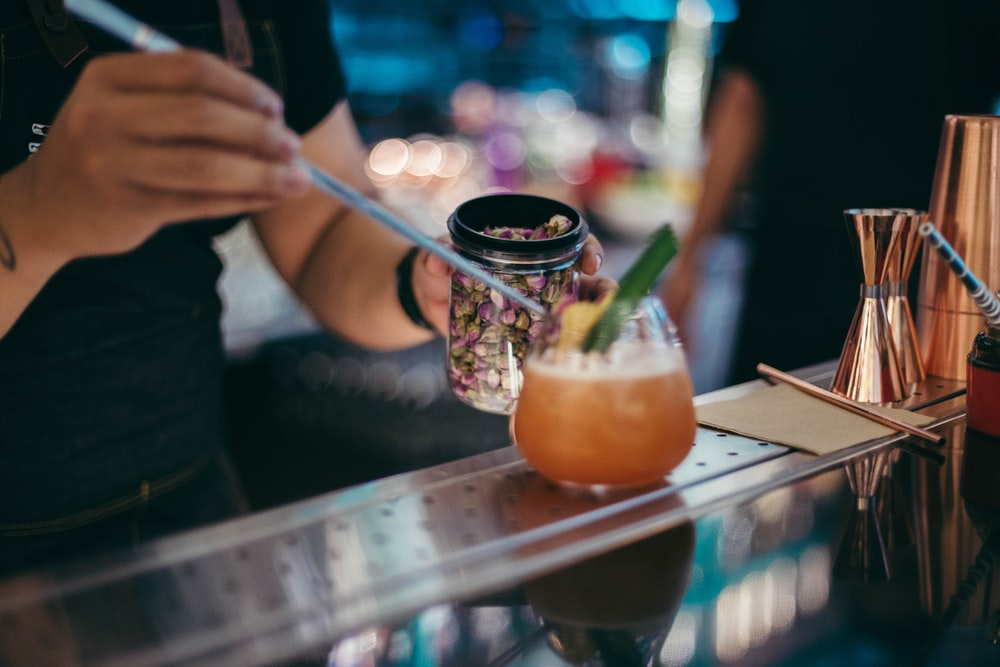 person near cocktail