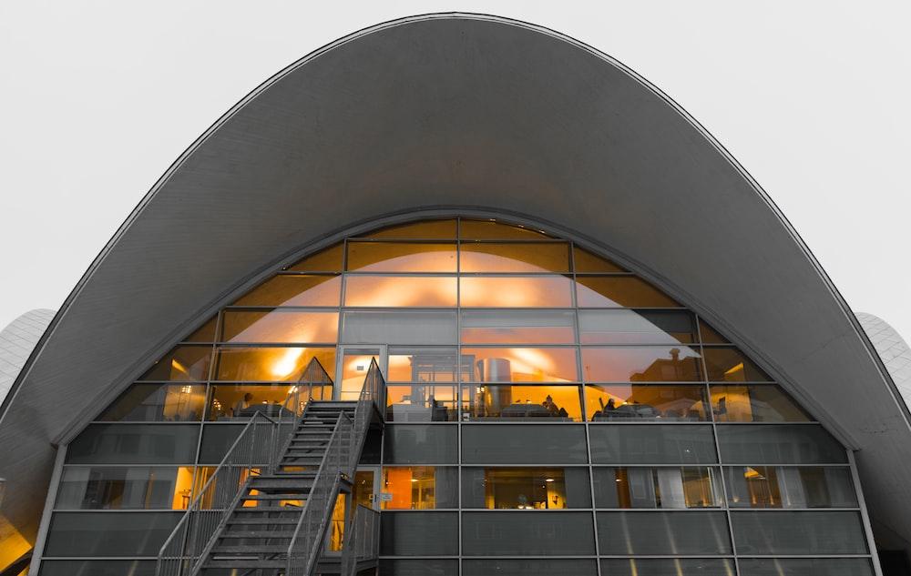 gray glass-framed building