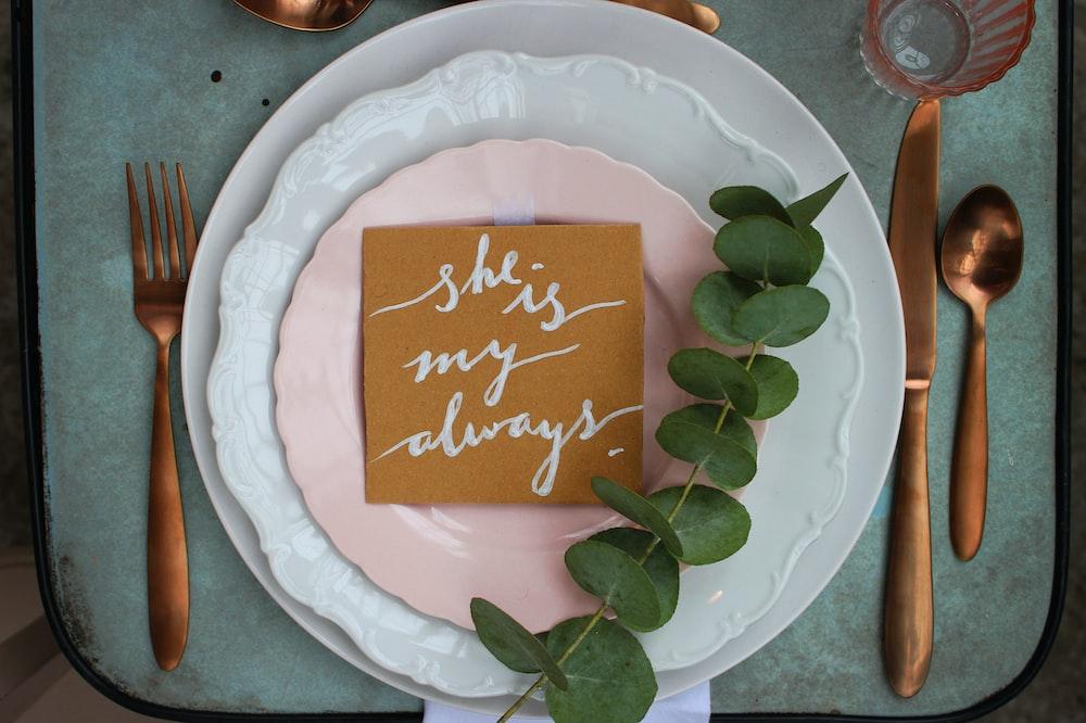round pink and white ceramic plates