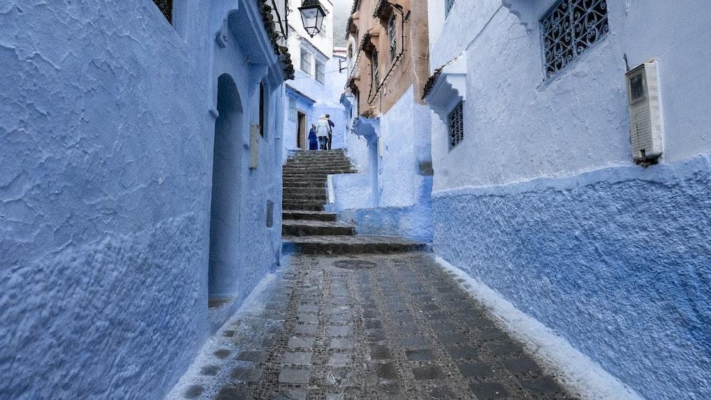 blue painted concrete houses