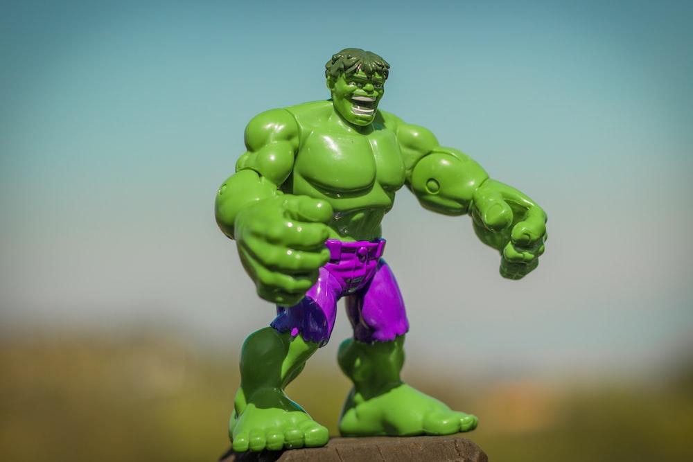 Marvel Hulk action figure standing on gray surface