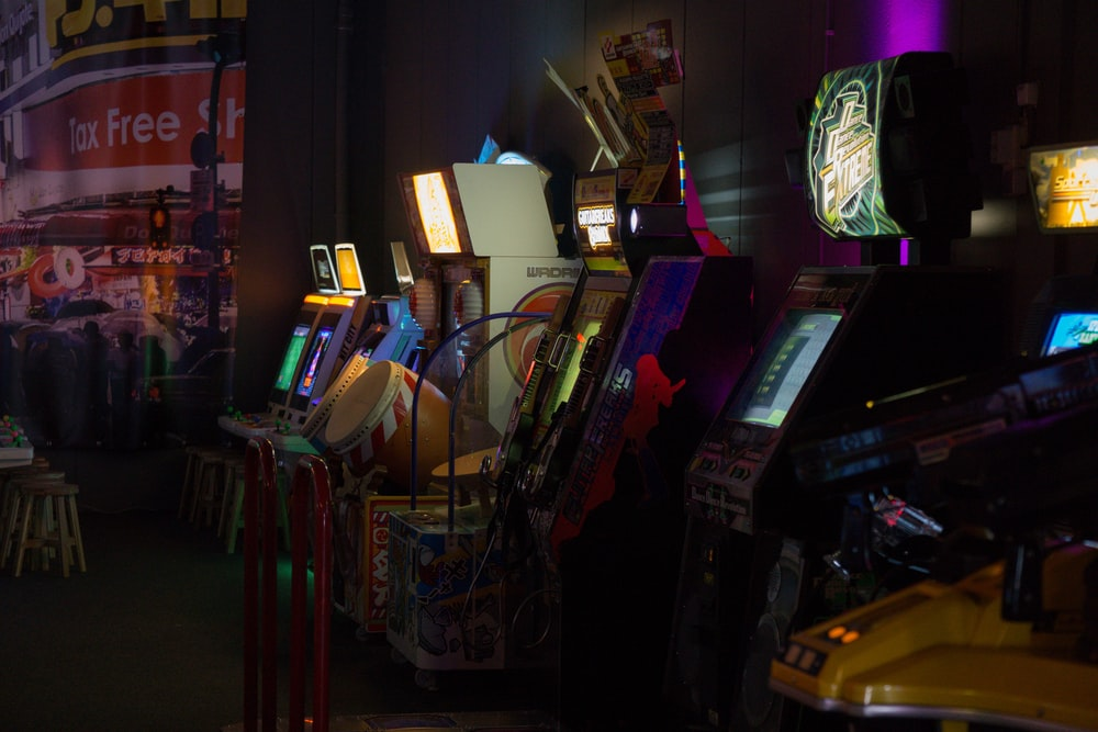 arcade video game machines turned on